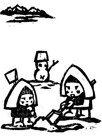 「雪かき」切り絵の画像