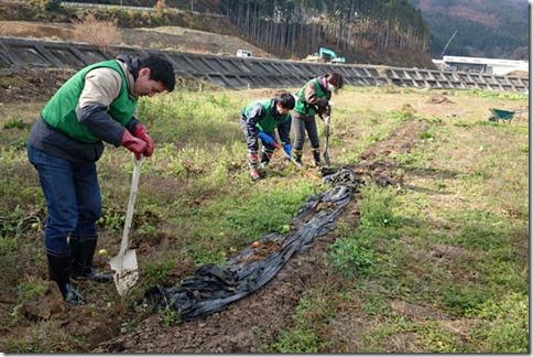 畑の土移動などをおこなうボランティア参加者の写真